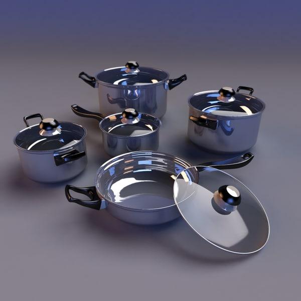 set cookware 3d model