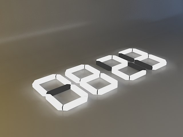 digital clock light 3d 3ds
