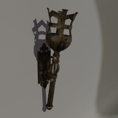 medieval torch obj