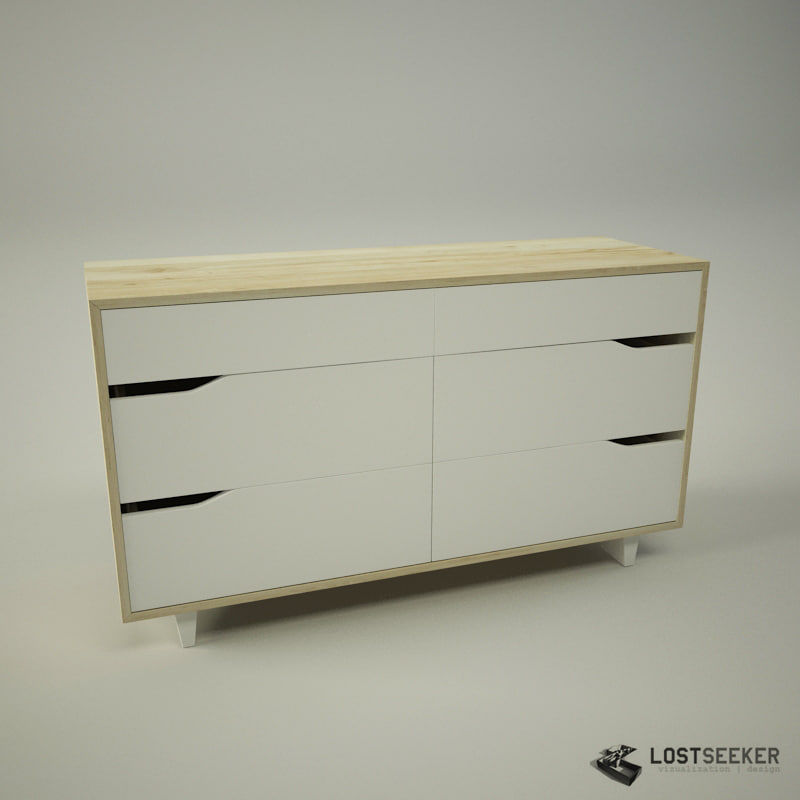 IKEA Mandal Chest of 6 drawers. mandal chest drawers 3d max
