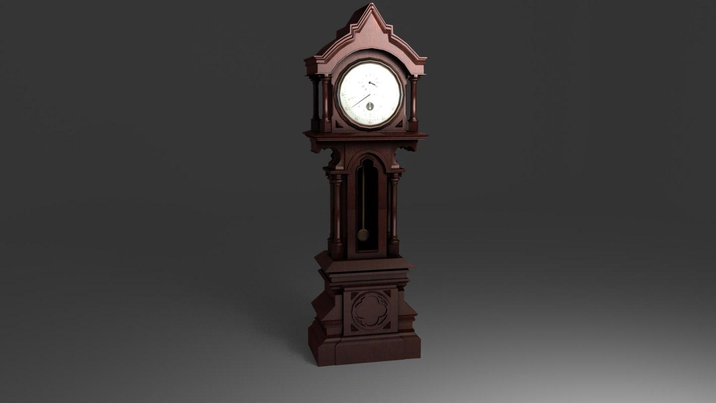 antique clock 3d ma