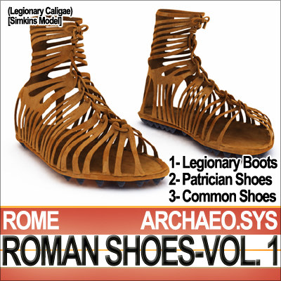 ancient roman caligae shoes 3d model