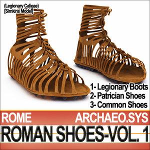 ancient roman caligae shoes 3d model