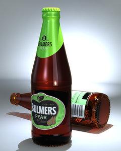3d model of bulmers pear cider bottle