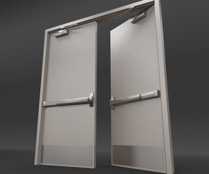 rigged double door - 3d model