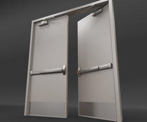 rigged double door - 3d model