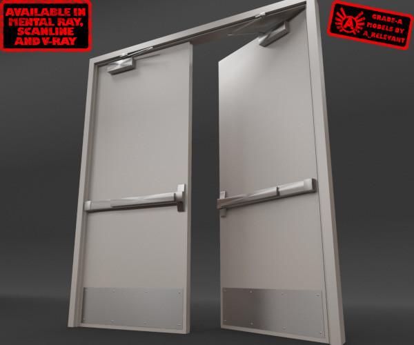 Rigged double door 3d model for Door 3d model