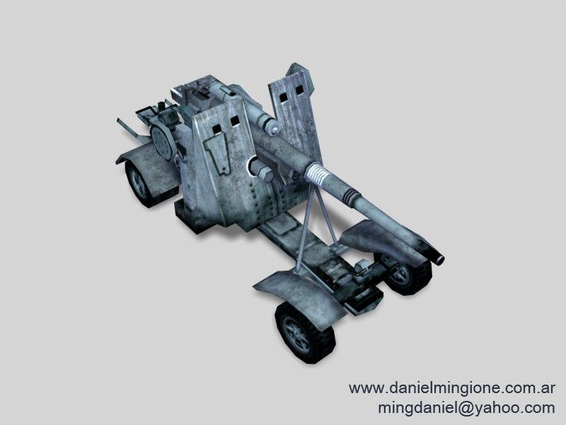 88mm cannon german 3d model