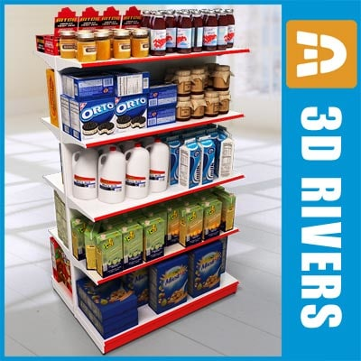 3ds shelving food display