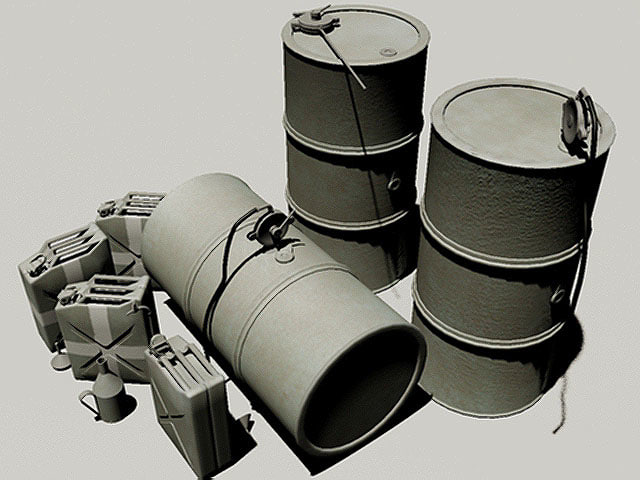 3d german fuel barrels wwii