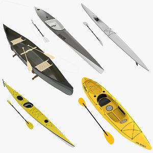 3d model 4 kayaks canoe