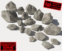 Rocks - Stones 1 Jagged RS15 - Grey 3D rocks or stones