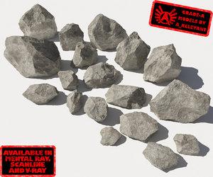 jagged rocks stones 1 3d model