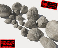 Rocks - Stones 1 Smooth RS15 - Grey 3D rocks or stones