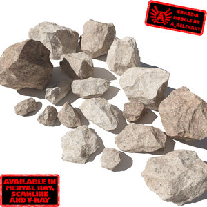 jagged rocks stones - 3d model