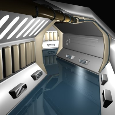 interior scifi starship 3d max