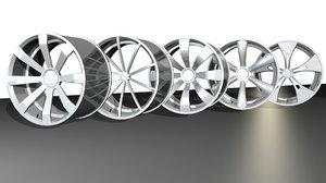 generic car wheels 3d model