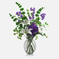 bouquet lily flower 3d model