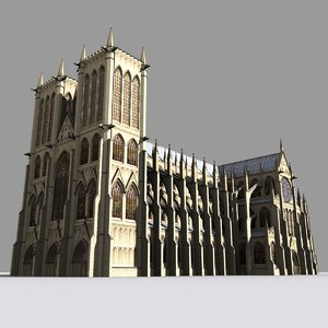medieval gothic cathedral 3d model