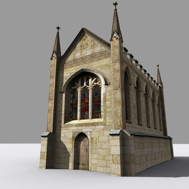 3d medieval gothic chapel