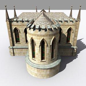 medieval gothic parish church 3d max
