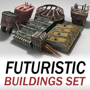 buildings set futuristic 3d model