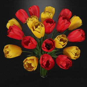3d red yellow tulips vase model