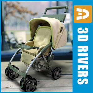 3d yellow stroller model