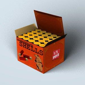free box shot shotgun shells 3d model