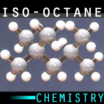 3d model molecule trimethylpentane
