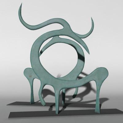 sculptural glass horse 3d model