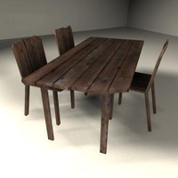 3ds max wood table chairs