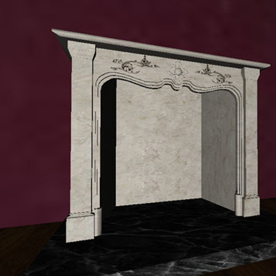 3d victorian style fireplace model