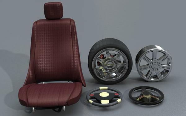 car accessories seat wheel 3d lwo