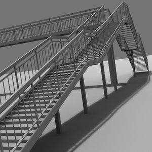 3d steel footbridge span
