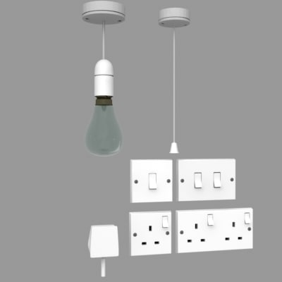 uk electrical fittings light 3d model