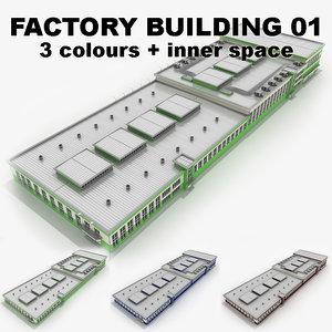 3d factory building 01 model