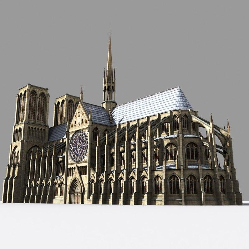 paris cathedrals 3d model