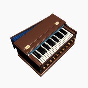 3d eastern keyboard harmonium