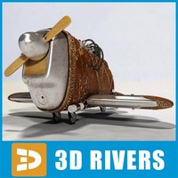 3d steampunk toy plane