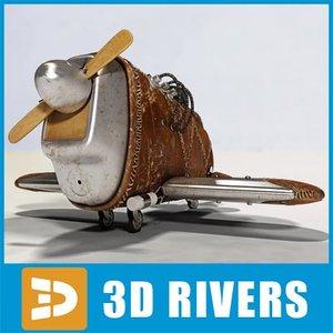 3d steampunk toy plane