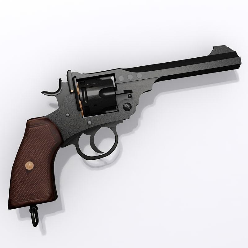 webley revolver pistol mk 3d model