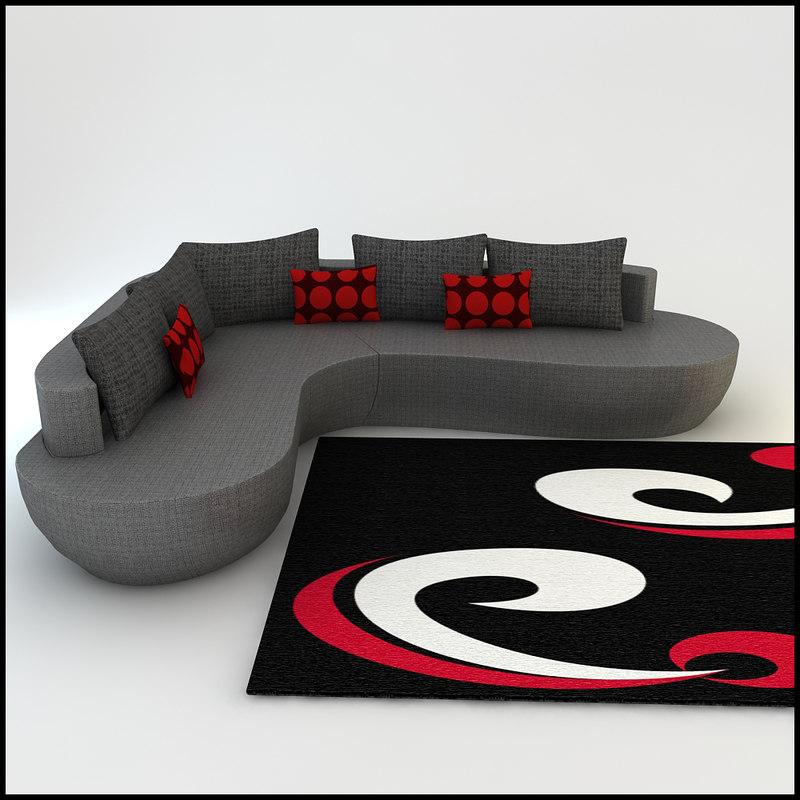 3d model promotion corner sofa designs