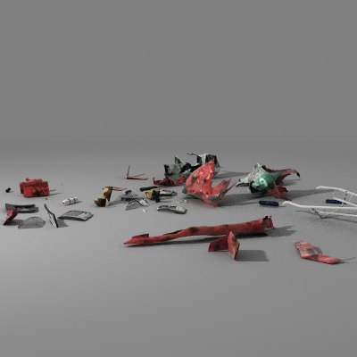 helicopter debris 3d model