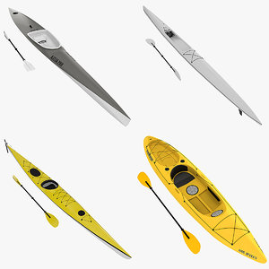 kayaks sea fishing 3d model
