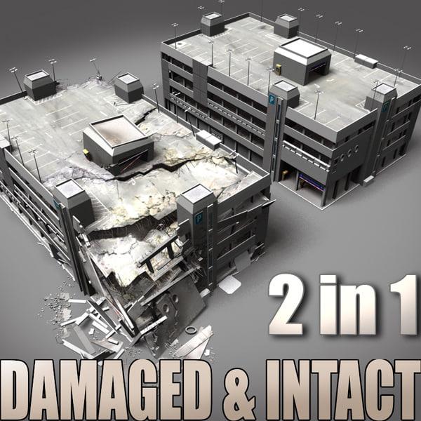 lwo destroyed intact parking garage
