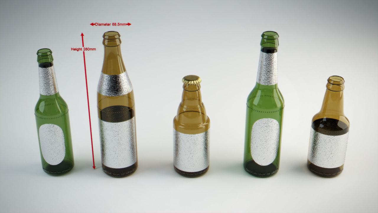 real world scale beer bottle 3d model