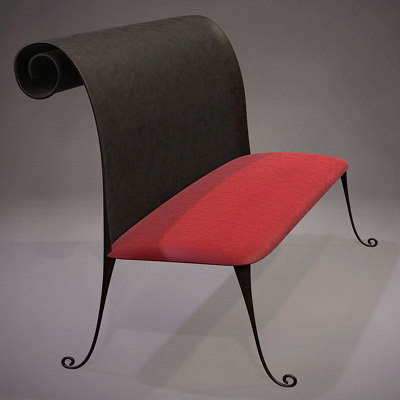 3d model stylish bench
