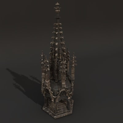 gothic ornate tower 3d model
