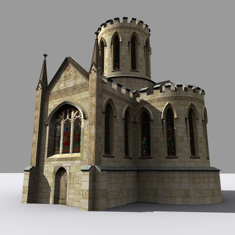 medieval gothic style folly 3d model